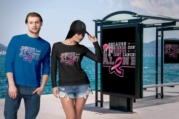 Because Friends Dont Let Friends Fight Breast Cancer Alone Retro Gifts Long Sleeve-T-shirt-JoyHip.Com