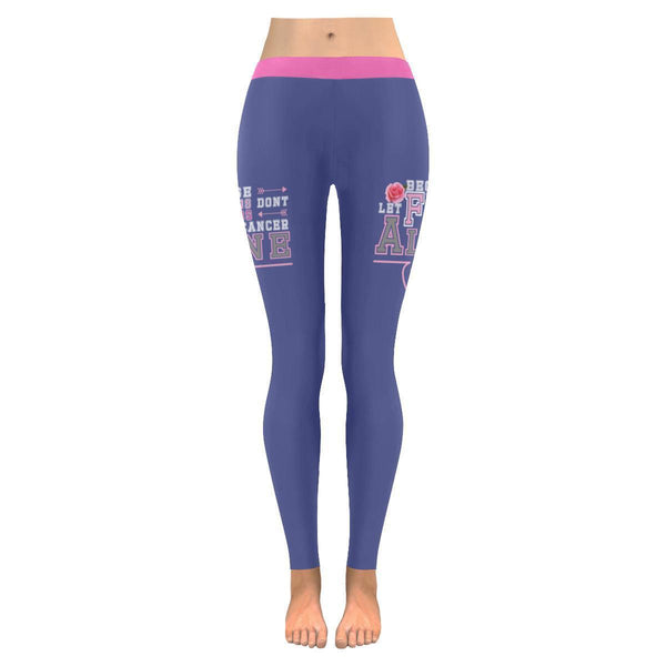 Because Of You I Didnt Give Up Breast Cancer Pink Ribbon UPF40+ Womens Leggings-JoyHip.Com