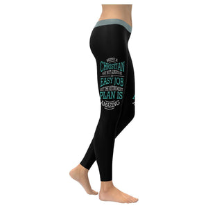 Being A Christian Not An Easy But Retirement Plan Is Amazing Christian Leggings-XXS-Black-JoyHip.Com