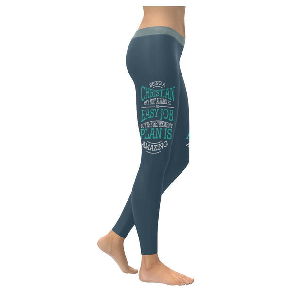 Being A Christian Not An Easy But Retirement Plan Is Amazing Christian Leggings-XXS-Grey-JoyHip.Com