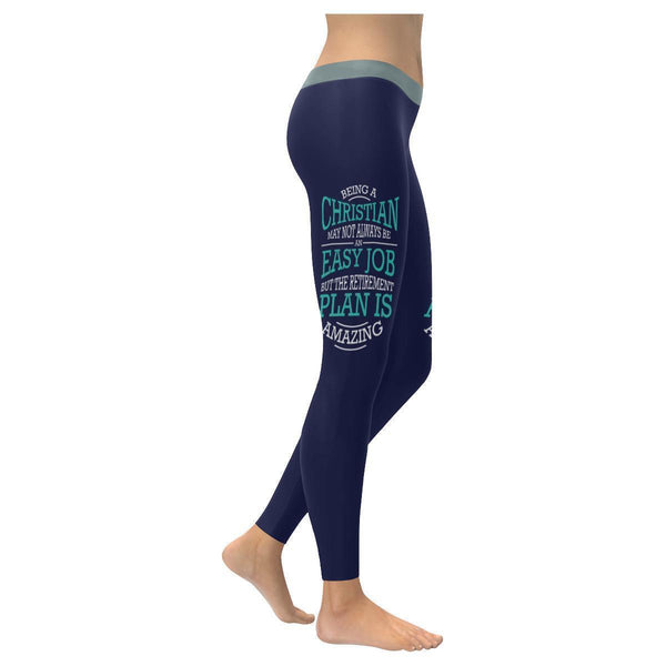 Being A Christian Not An Easy But Retirement Plan Is Amazing Christian Leggings-XXS-Navy-JoyHip.Com