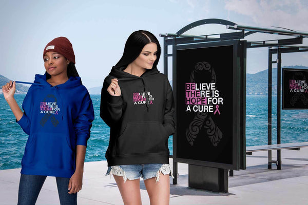 Believe There Is Hope For A Cure Breast Cancer Awareness Cool Gift Ideas Hoodie-T-shirt-JoyHip.Com