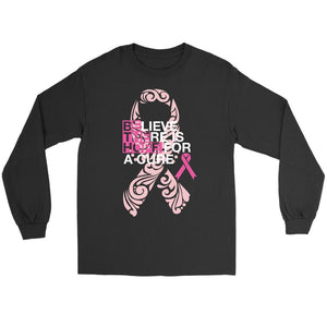 Believe There Is Hope For A Cure Breast Cancer Awareness Gift Ideas Long Sleeve-T-shirt-Gildan Long Sleeve Tee-Black-JoyHip.Com