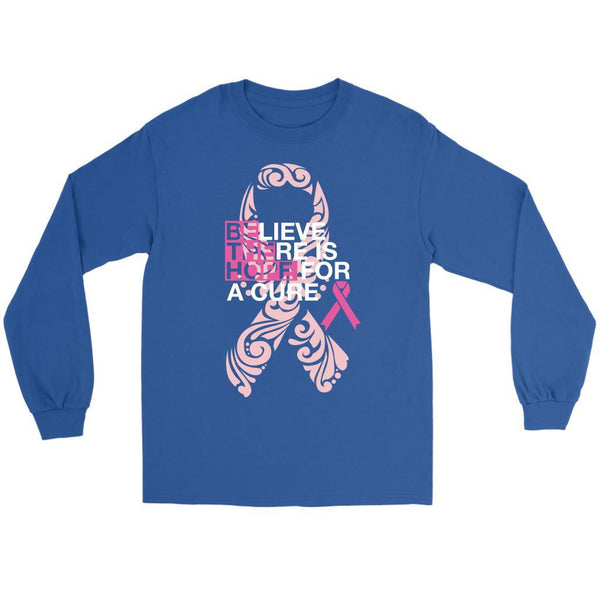 Believe There Is Hope For A Cure Breast Cancer Awareness Gift Ideas Long Sleeve-T-shirt-Gildan Long Sleeve Tee-Royal Blue-JoyHip.Com