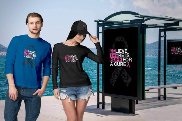 Believe There Is Hope For A Cure Breast Cancer Awareness Gift Ideas Long Sleeve-T-shirt-JoyHip.Com