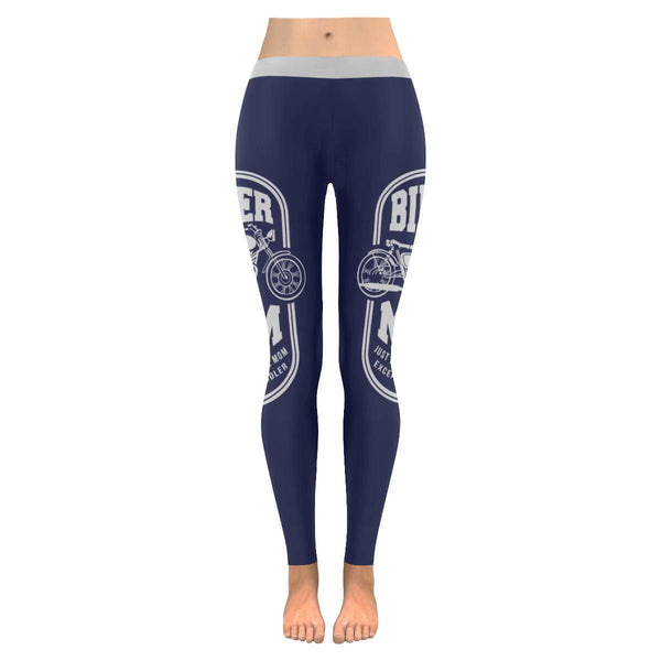 Biker Mom Just Like A Normal Mom Except Much Cooler Motorcycle Womens Leggings-JoyHip.Com