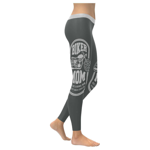 Biker Mom Just Like A Normal Mom Except Much Cooler Motorcycle Womens Leggings-XXS-Grey-JoyHip.Com