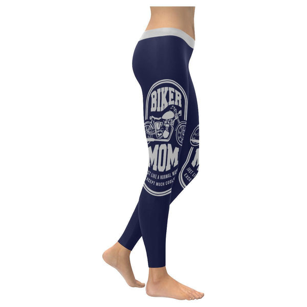 Biker Mom Just Like A Normal Mom Except Much Cooler Motorcycle Womens Leggings-XXS-Navy-JoyHip.Com