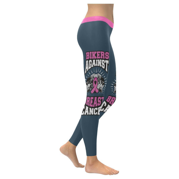 Bikers Against Breast Cancer Awareness Pink Ribbon UPF40+ Womens Leggings-XXS-Grey-JoyHip.Com