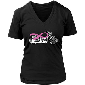 Bikers For Breast Cancer Awareness Pink Motorcycle Gift Idea VNeck TShirt-T-shirt-District Womens V-Neck-Black-JoyHip.Com