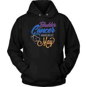 Bladder Cancer Awareness May Yellow Blue & Purple Ribbon Awesome Gift Hoodie-T-shirt-Unisex Hoodie-Black-JoyHip.Com