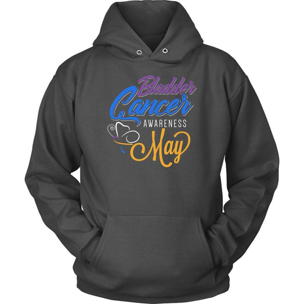 Bladder Cancer Awareness May Yellow Blue & Purple Ribbon Awesome Gift Hoodie-T-shirt-Unisex Hoodie-Grey-JoyHip.Com