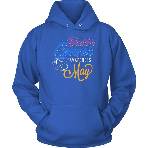 Bladder Cancer Awareness May Yellow Blue & Purple Ribbon Awesome Gift Hoodie-T-shirt-Unisex Hoodie-Royal Blue-JoyHip.Com