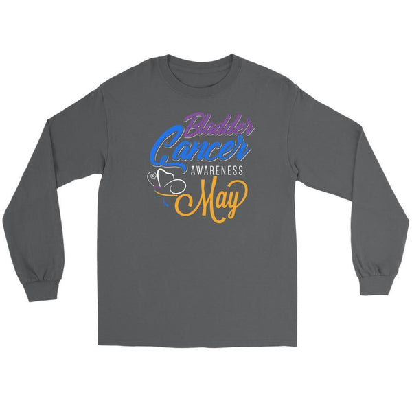 Bladder Cancer Awareness May Yellow Blue & Purple Ribbon Awesome Long Sleeve-T-shirt-Gildan Long Sleeve Tee-Grey-JoyHip.Com