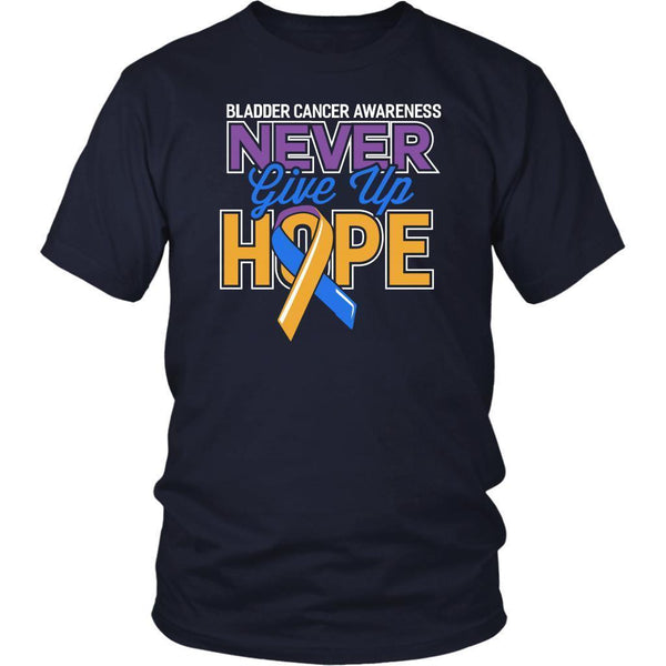 Bladder Cancer Awareness Never Give Up Hope Awesome Cool Gift Ideas TShirt-T-shirt-District Unisex Shirt-Navy-JoyHip.Com