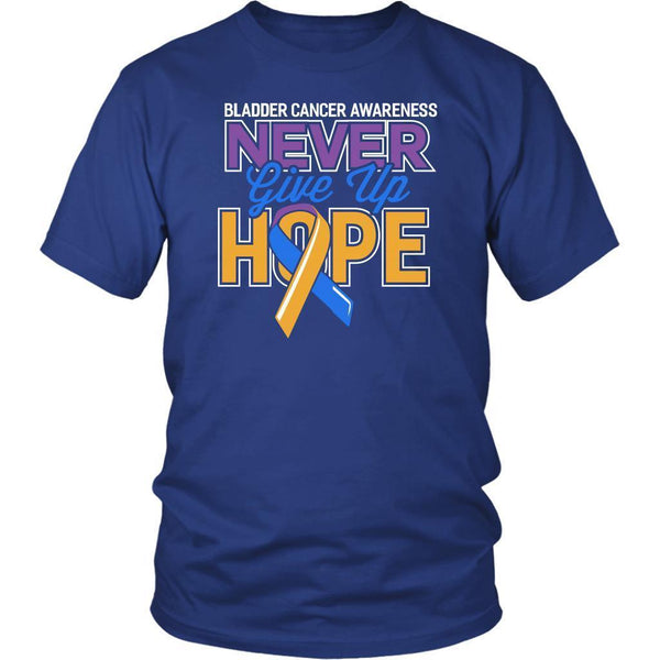 Bladder Cancer Awareness Never Give Up Hope Awesome Cool Gift Ideas TShirt-T-shirt-District Unisex Shirt-Royal Blue-JoyHip.Com