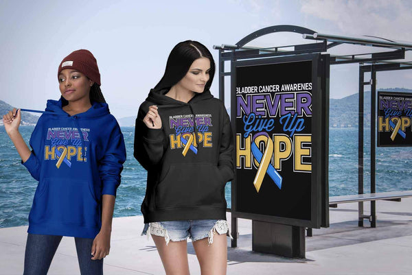 Bladder Cancer Awareness Never Give Up Hope Awesome Cool Gift Ideas TShirt-T-shirt-JoyHip.Com