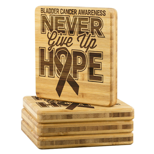 Bladder Cancer Awareness Never Give Up Hope Cute Drink Coasters Set Gifts Idea-Coasters-Bamboo Coaster - 4pc-JoyHip.Com
