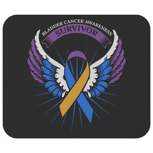 Bladder Cancer Awareness Survivor Blue Yellow Purple Ribbon Angel Wings Mouse Pad-Mousepads-Black-JoyHip.Com