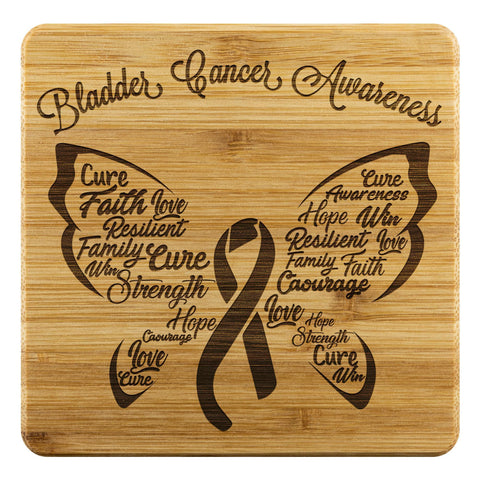 Bladder Cancer Butterfly Blue Yellow Purple Ribbon Drink Coasters Set Gifts Idea-Coasters-Bamboo Coaster - 4pc-JoyHip.Com