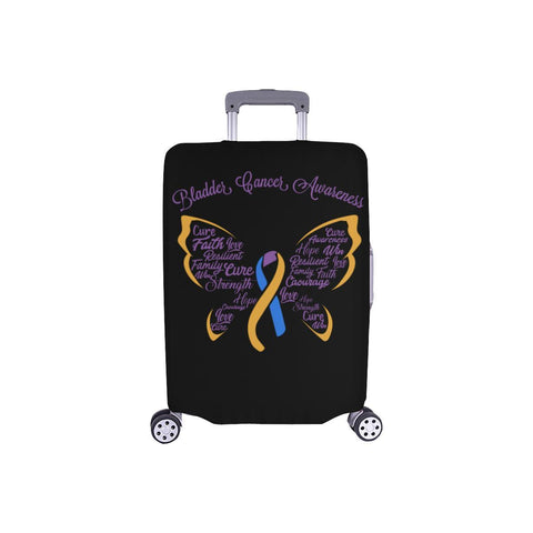 "Bladder Cancer Butterfly Travel Luggage Cover Suitcase Protector 18""-28"" Baggage-S-Black-JoyHip.Com"