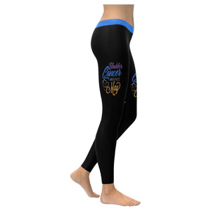 Bladder Cancer Month May Blue Yellow Purple Ribbon Gift Leggings For Women-XXS-Black-JoyHip.Com