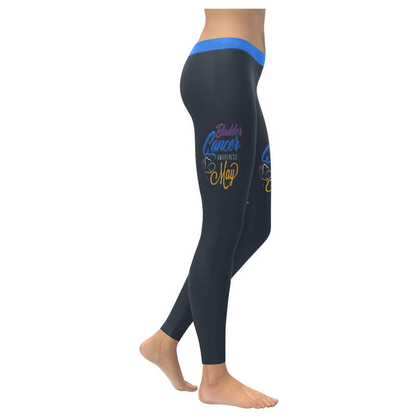 Bladder Cancer Month May Blue Yellow Purple Ribbon Gift Leggings For Women-XXS-Grey-JoyHip.Com