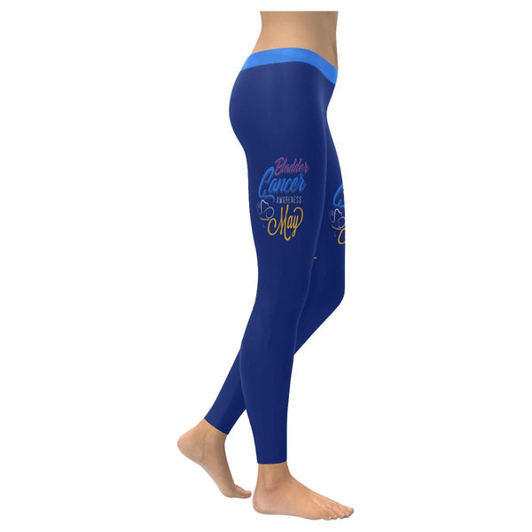 Bladder Cancer Month May Blue Yellow Purple Ribbon Gift Leggings For Women-XXS-Navy-JoyHip.Com