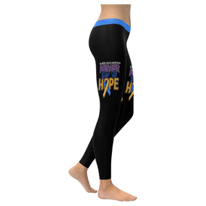 Bladder Cancer Never Give Up Hope Blue Yellow Purple Ribbon Leggings For Women-XXS-Black-JoyHip.Com