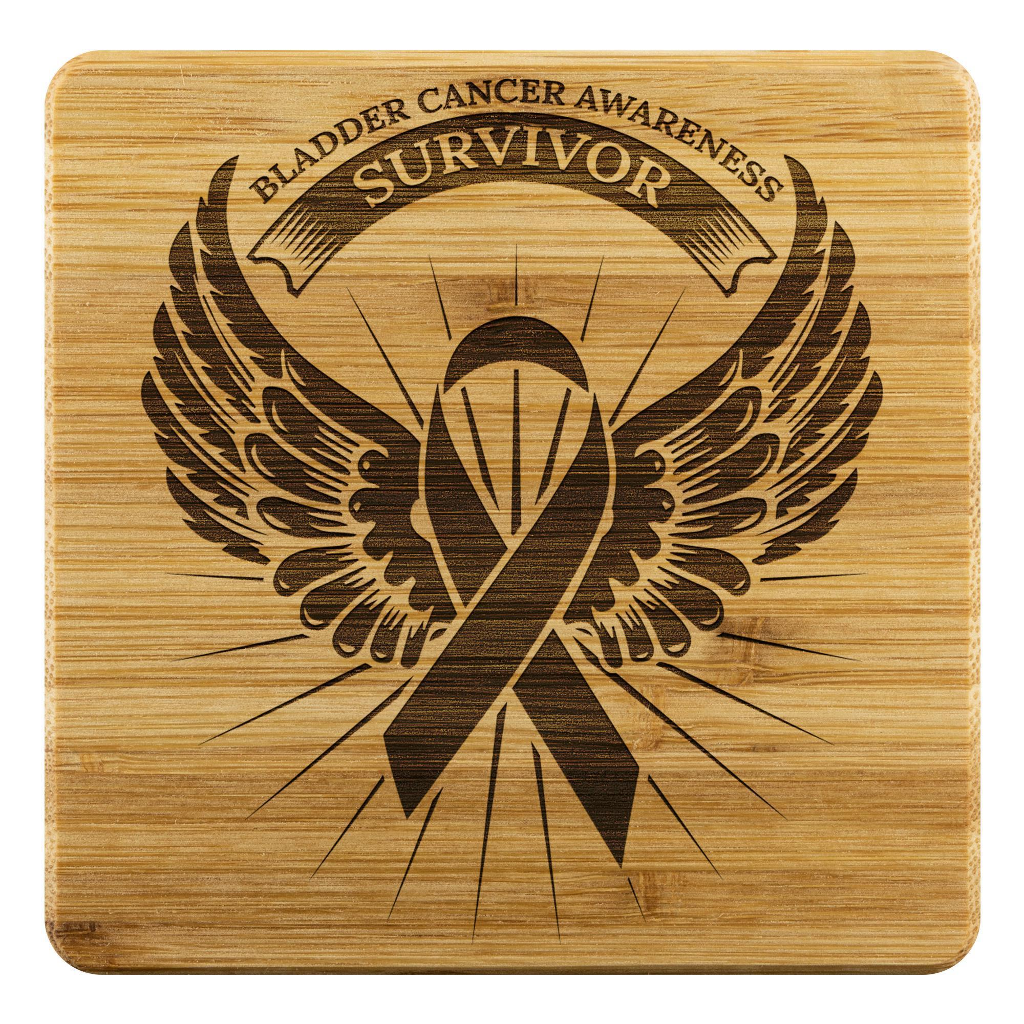 Bladder Cancer Survivor Angel Wing Drink Coasters Set Gift Ideas-Coasters-Bamboo Coaster - 4pc-JoyHip.Com