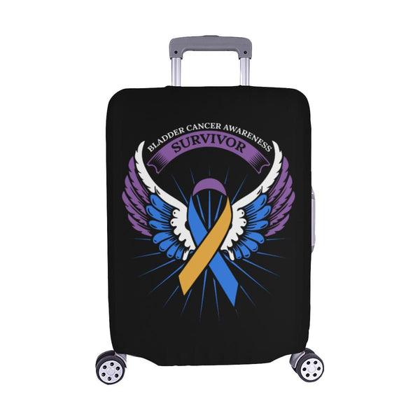Bladder Cancer Survivor Angel Wings Travel Luggage Cover Suitcase Protector-M-Black-JoyHip.Com