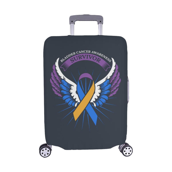 Bladder Cancer Survivor Angel Wings Travel Luggage Cover Suitcase Protector-M-Grey-JoyHip.Com