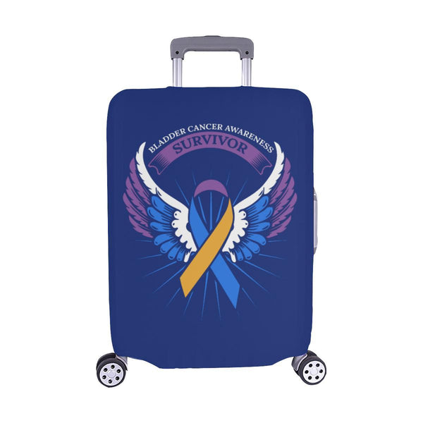 Bladder Cancer Survivor Angel Wings Travel Luggage Cover Suitcase Protector-M-Navy-JoyHip.Com