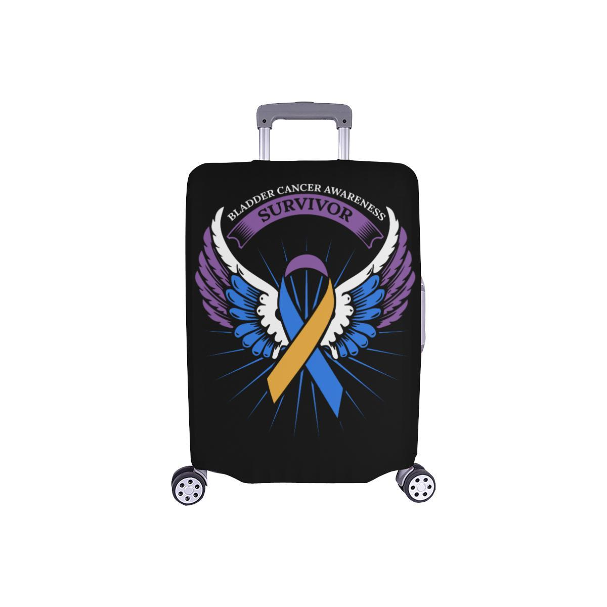 Bladder Cancer Survivor Angel Wings Travel Luggage Cover Suitcase Protector-S-Black-JoyHip.Com