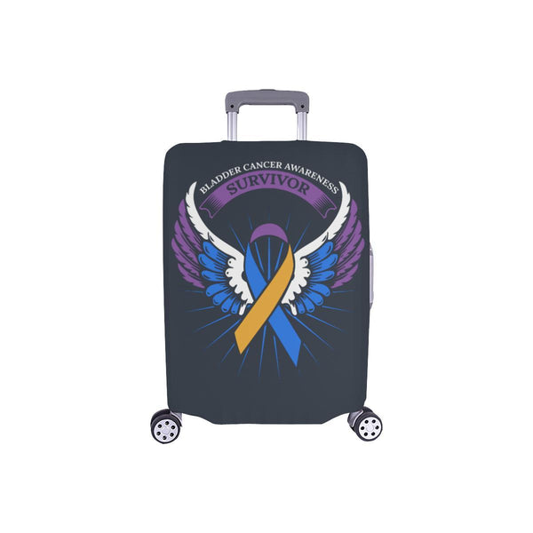 Bladder Cancer Survivor Angel Wings Travel Luggage Cover Suitcase Protector-S-Grey-JoyHip.Com
