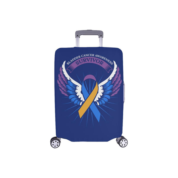 Bladder Cancer Survivor Angel Wings Travel Luggage Cover Suitcase Protector-S-Navy-JoyHip.Com