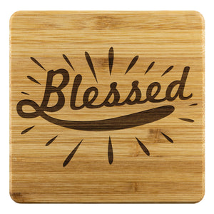 Blessed Cute Funny Drink Coasters Set Christian Gift Idea Religious Spiritual-Coasters-Bamboo Coaster - 4pc-JoyHip.Com
