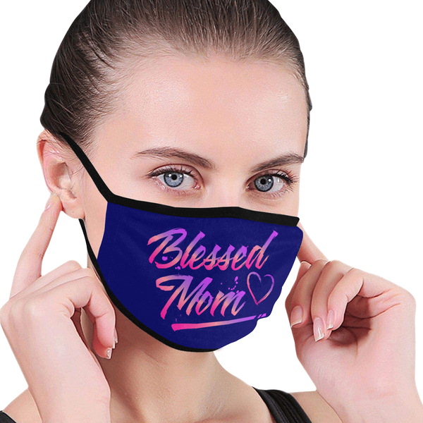 Blessed Mom Funny Mothers Day Washable Reusable Face Mask With Filter Pocket-Face Mask-JoyHip.Com