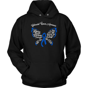 Blue Ribbon Butterfly Colorectal Cancer Awareness Cool Gift Ideas Hoodie-T-shirt-Unisex Hoodie-Black-JoyHip.Com