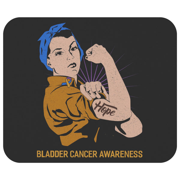 Blue Yellow Purple Hope We Can Do It Bladder Cancer Gift Chemo Patient Mouse Pad-Mousepads-Black-JoyHip.Com