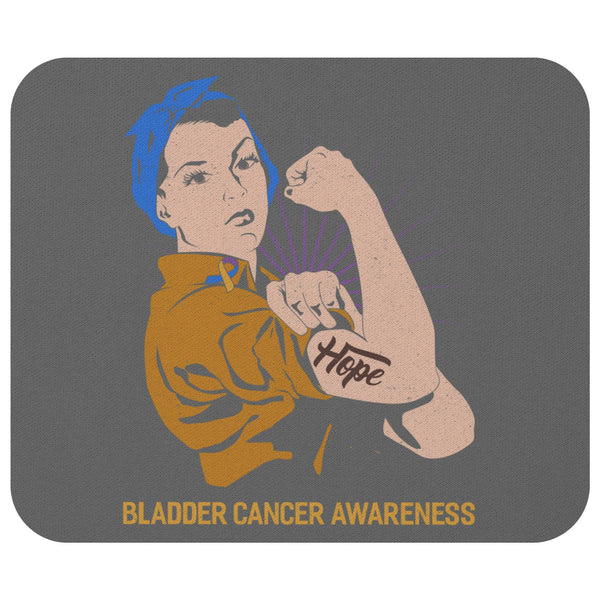 Blue Yellow Purple Hope We Can Do It Bladder Cancer Gift Chemo Patient Mouse Pad-Mousepads-Grey-JoyHip.Com