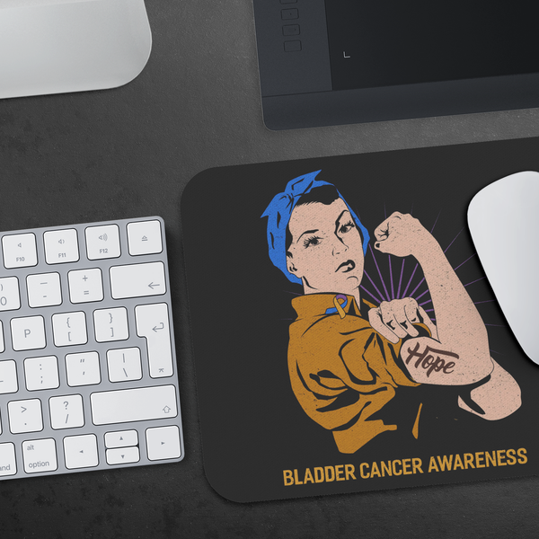 Blue Yellow Purple Hope We Can Do It Bladder Cancer Gift Chemo Patient Mouse Pad-Mousepads-JoyHip.Com
