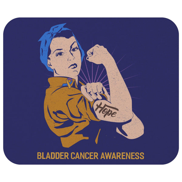 Blue Yellow Purple Hope We Can Do It Bladder Cancer Gift Chemo Patient Mouse Pad-Mousepads-Navy-JoyHip.Com