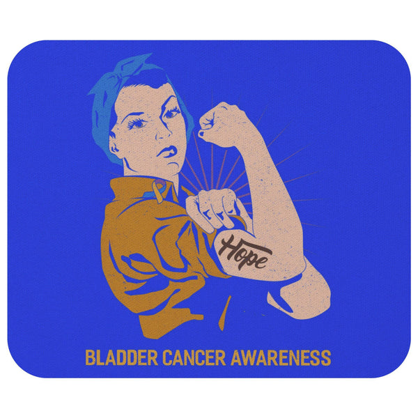 Blue Yellow Purple Hope We Can Do It Bladder Cancer Gift Chemo Patient Mouse Pad-Mousepads-Royal Blue-JoyHip.Com