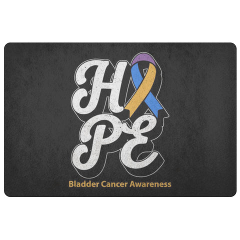Blue Yellow Purple Ribbon Hope Bladder Cancer 18X26 Thin Indoor DoorMat Entryway-Doormat-Black-JoyHip.Com