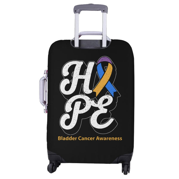 Blue Yellow Purple Ribbon Hope Bladder Cancer Travel Luggage Cover Protector-JoyHip.Com