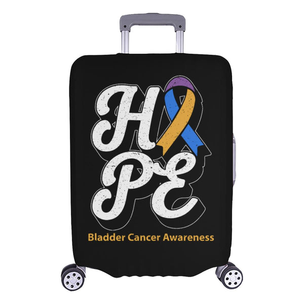 Blue Yellow Purple Ribbon Hope Bladder Cancer Travel Luggage Cover Protector-L-Black-JoyHip.Com