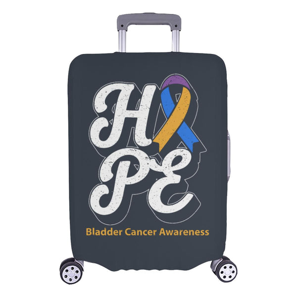 Blue Yellow Purple Ribbon Hope Bladder Cancer Travel Luggage Cover Protector-L-Grey-JoyHip.Com