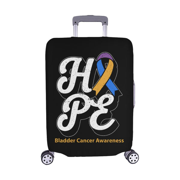 Blue Yellow Purple Ribbon Hope Bladder Cancer Travel Luggage Cover Protector-M-Black-JoyHip.Com
