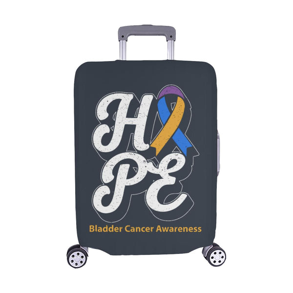 Blue Yellow Purple Ribbon Hope Bladder Cancer Travel Luggage Cover Protector-M-Grey-JoyHip.Com